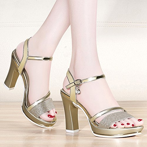 Bottomed Summer Thick Golden Jqdyl heels Waterproof Sandals Heels Female Thick High New Platform Buckle High With RXpq7