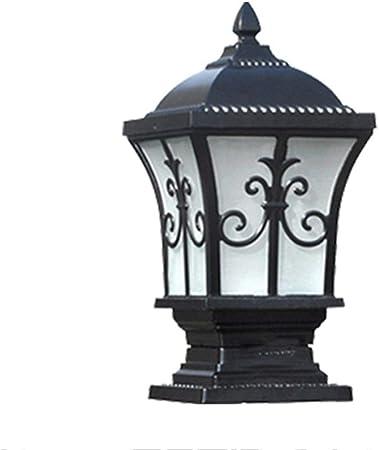 LJIANW-Farolas Jardin Exterior, Luces De La Cerca LED Post Cap Light Aluminio IP65 Impermeable E27 Al Aire Libre Jardín Navidad Decoración 2 Colores, 3 Tamaños (Color : Black, Size : 56cm): Amazon.es: Hogar