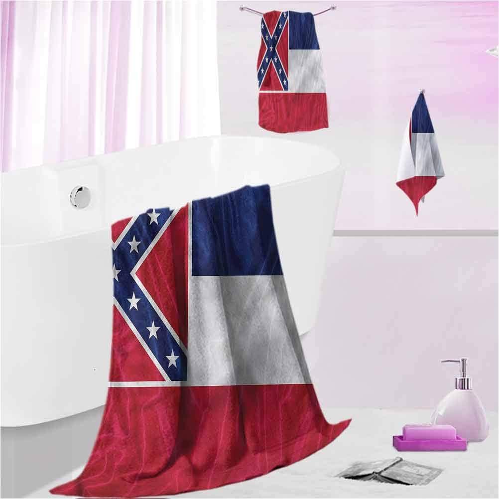 DayDayFun Patterned Bath Towel Sets American Beach Bath Hand Towel Sets Mississippi Flag Square M - Contain 1 Bath Towel 1 Hand Towel 1 Washcloth