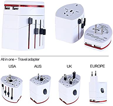 Lychee Universal World Wide All-in-one World Travel Adapter Worldwide Travel Charger Plug with Dual USB Charging Ports White US UK EU AU