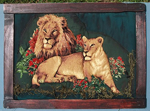His Majesty The King and His Queen. Ribbon and Stumpwork Embroidery of Lion & Lioness. Large 3-D Art. with Homemade Frame. One of a Kind.