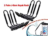 SMARTENPLUS Universal Kayak Rack Holder J Bar , 2 pairs-Bar HD Kayak Rack Carrier Canoe Boat Surf Ski Roof Top Mount Car SUV Crossbar + Waterproof Cellphone Bag (Bonus)
