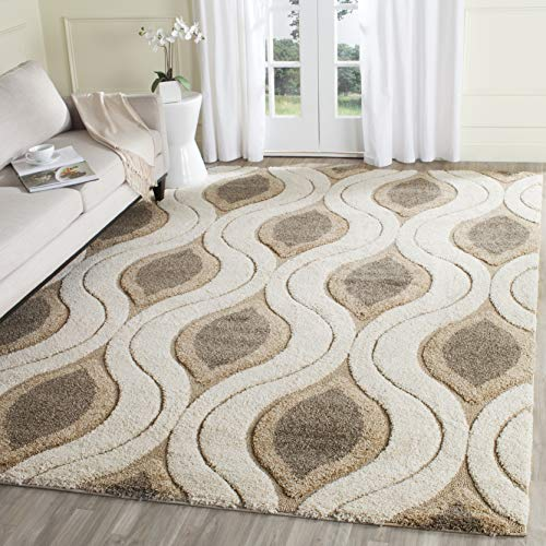 - Safavieh Florida Shag Collection SG461-1179 Cream and Smoke Area Rug (9'6