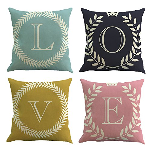 FLY SPRAY 4-Pack Pillowcases Cotton Linen Decorative Throw Pillow Covers Letter LOVE Blue Black Yellow Pink Square Cushion Cover Size 18