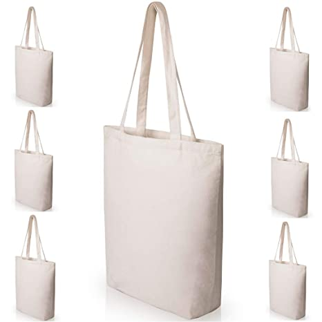 fa5afa00f4 Heavy Duty and Strong Large Natural Canvas Tote Bags with Bottom Gusset (6  Pack + other sizes) for Crafts