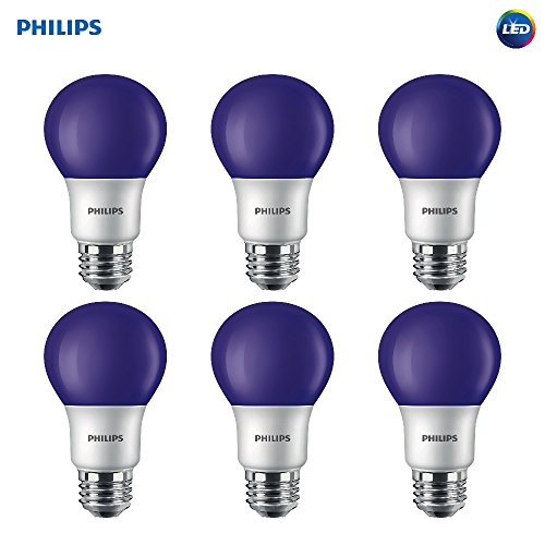 Philips LED 463208 60 Watt Equivalent Purple A19 LED Light Bulb, 6 Pack, Piece