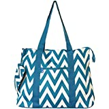 "20""Chevron Prints Large Roomy Tote Beach Bag W/ Attached Coin Purse EM4418CVP"