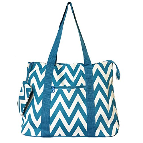 Large Roomy Canvas Tote Purse Beach Travel Bag w/ Attached Coin Purse (Chevron - Blue) by Ever Moda