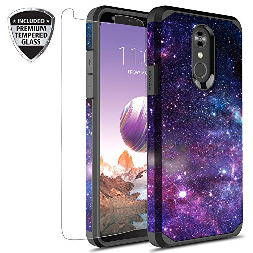 LG Stylo 4 Case, LG Stylo 4 Plus Case With Tempered Glass Screen Protector, Rosebono Slim Hybrid Dual Layer Graphic Fashion Cute Colorful Cover Armor Case for LG Stylo4 (Stardust)
