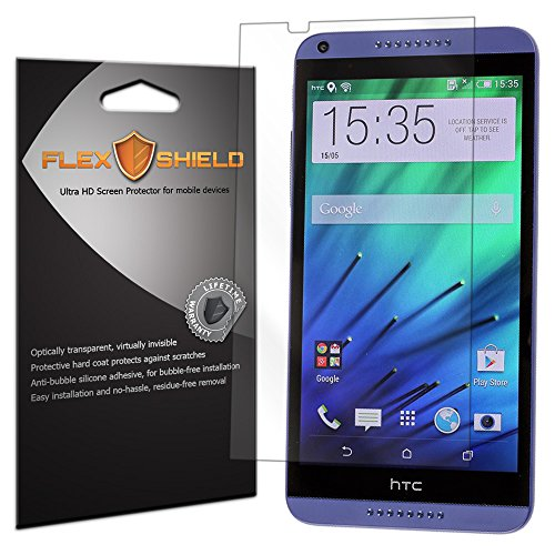 Flex Shield [3-Pack] - HTC Desire 816 Screen Protector with Lifetime Replacement Warranty - Ultra Clear Japanese PET Film - Bubble-Free HD Clarity with Anti-Fingerprint & Scratch Resistance