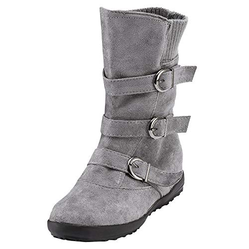 Women's Vintage Buckle Strap Mid Boots Comfort Flat Snow Boots Warm Suede Round Toe Zipper Mid Calf Boots 5.5-9.5 (Gray, 7 M US/Women)