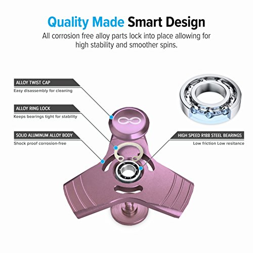Pink Fidget Spinner Prime, Metal Aluminum Alloy Tri Spinner with stainless Steel Bearings which helps to increase focus, relieves stress, anxiety, and boredom. Fidget Spinner + Metal Carrying Case
