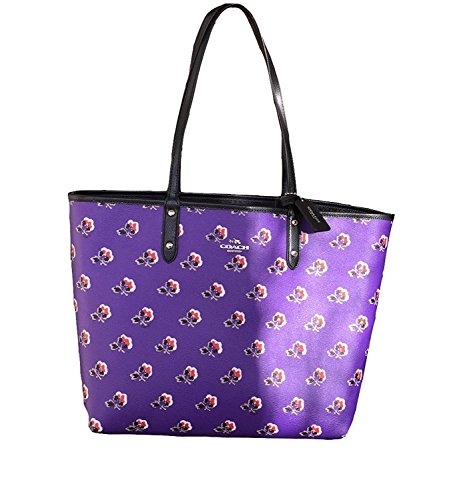 Coach Reversible City Tote in Bramble Rose Floral and Black - #F55866