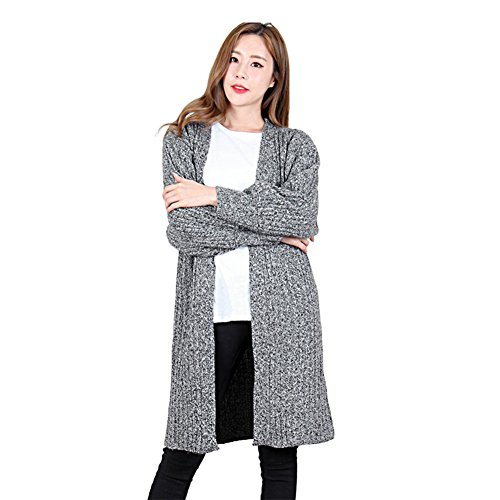 Luxe 7 kn1707 Women's Casual Open Front Long Sleeve Knit Cardigan Sweater Charcoal by Luxe 7