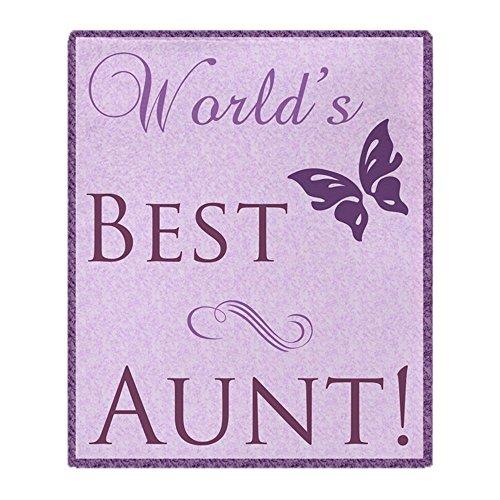 CafePress World's Best Aunt (Butterfly) Soft Fleece Throw Blanket, 50