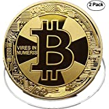 BITCOIN Coin,18K GOLD,[2-pack] Deluxe Collector's Set | Featuring the Limited Edition Original Commemorative Tokens | Each Coin is enclosed in a Display Case