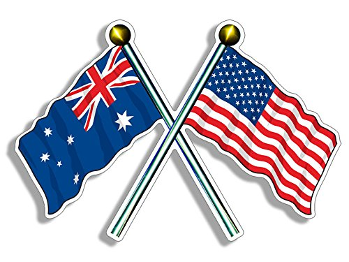 USA and AUSTRALIA Waving Flags on Poles Sticker (american australian) Australia Flag Sticker
