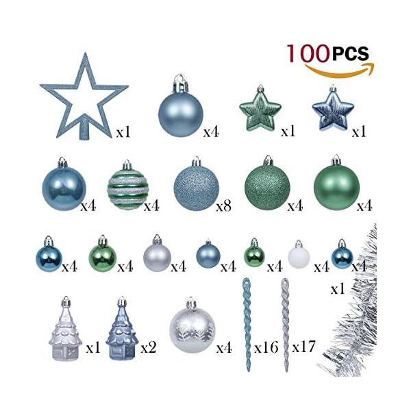 Valery Madelyn Palle di Natale 100 Pezzi di Palline di Natale, 3-5 cm Auguri Invernali Blu Verde e Nastro Infrangibile Ornamenti Palla di Natale Decorazione per Albero di Natale 3 spesavip