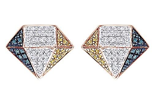 14K Gold Over Sterling Silver Genuine Diamond Hip Hop Stud Earrings (0.30 Cttw) by wishrocks