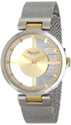 Kenneth Cole New York Women's KC4987 Transparency Round Yellow Gold Transparent Dial Mesh Bracelet Watch