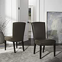 Safavieh Hudson Collection Greenwich Marbled Leather Side Chairs, Clay, Set of 2