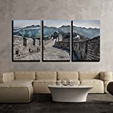 wall26 - 3 Piece Canvas Wall Art - The Great Wall at Mutianyu - Modern Home Decor Stretched and Framed Ready to Hang - 16