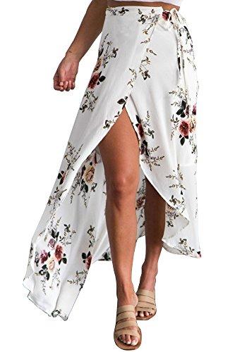Pxmoda Women's Boho Floral Print Ruffles Chiffon Maxi Skirt Summer Split Beach Skirt Dress