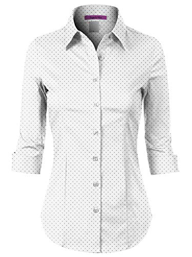 Design by Olivia Women's Stretchy Roll Up 3/4 Sleeve Button Down Dotted Slim Casual Blouse Shirt White S