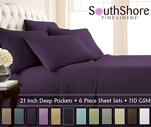 Southshore Fine Linens - 6 Piece - 21 Inch - Extra Deep Pocket Sheet Set (Queen, Purple)