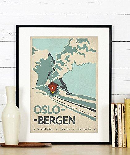Retro travel poster, Oslo Bergen, Norway, Scandinavia, train, railroad, vintage art print, wall decor, A3