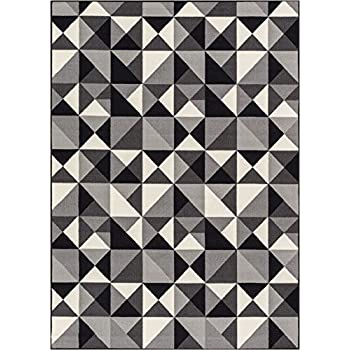 """Well Woven Non-Skid/Slip Rubber Back Antibacterial 8x10 (710"""" x 910"""") Area Rug Lex Casual Geo Grey Black White Geometric Modern Thin Low Pile Machine Washable Indoor Outdoor Kitchen Hallway Entry"""