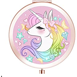 Rose Gold Makeup Mirror,Cute Unicorn Pattern Portable Foldable Pocket Metal Makeup Compact Mirror Woman Cosmetic Mirror(Unicorn6)