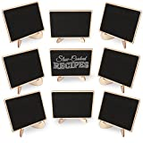 Amariver 20 Pack Wooden Mini Black Chalkboards with Support Easels, Message Writing Small Blackboard for Signs, Wedding, Parties and Event