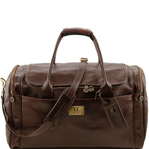 Tuscany Leather TL Voyager Travel leather bag with side pockets - Large size Dark Brown by Tuscany Leather
