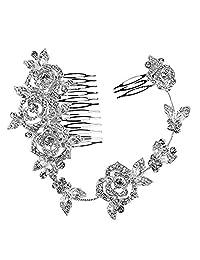 Crystal Bridal Wedding Hair Comb Flower Long Shaped Elegant Headpiece Jewelery