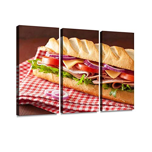 BELISIIS Long Baguette Sandwich with ham Cheese Tomato Lettuce Wall Artwork Exclusive Photography Vintage Abstract Paintings Print on Canvas Home Decor Wall Art 3 Panels Framed Ready to Hang