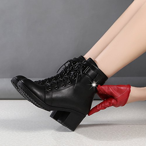 KPHY-The New Winter Snow Women Shoes Thick With High-Heeled Boots Leather And Velvet Leisure Martin Boots 37 Black