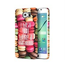 I Wish You Were A Macaron Quote Rainbow Macarons Pattern Samsung Galaxy S6 Plastic Phone Protective Case Cover