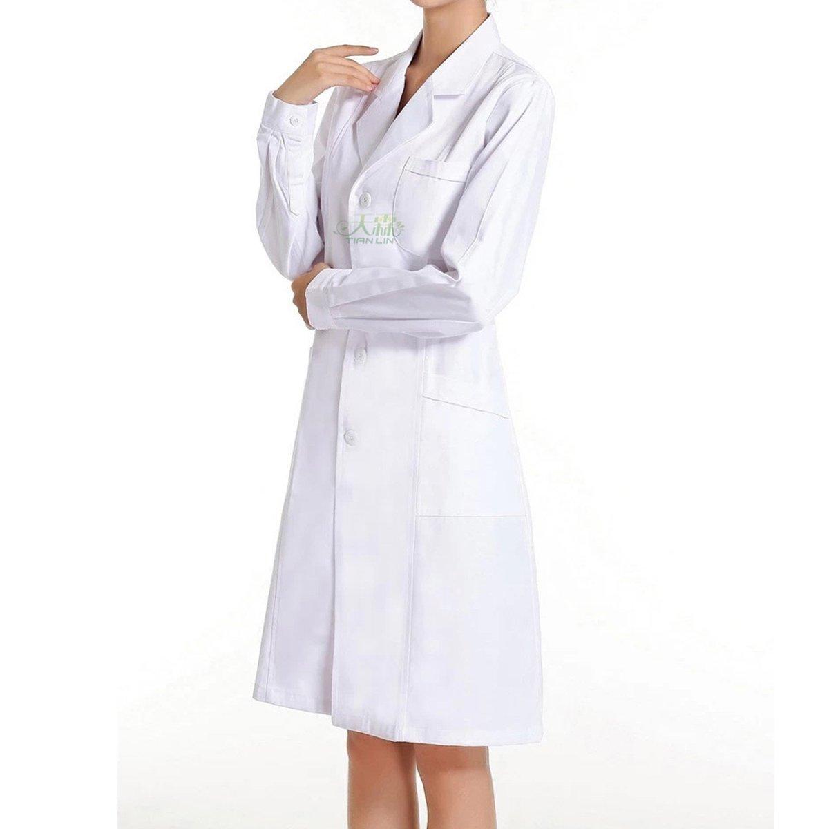 Bata de Médico Laboratorio Enfermera Sanitaria Ropa y uniformes de trabajo de Trabajo Blanca de Manga Larga para Mujer (M): Amazon.es: Ropa y accesorios