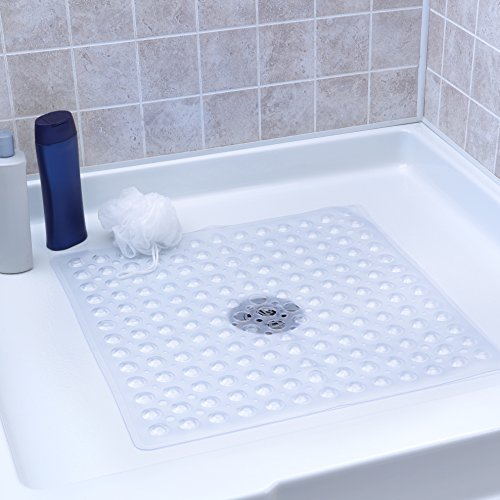 "SlipX Solutions Clear Square Shower Stall Mat Adds Non-Slip Traction (21"" Sides, 160+ Suction Cups, Great Drainage)"