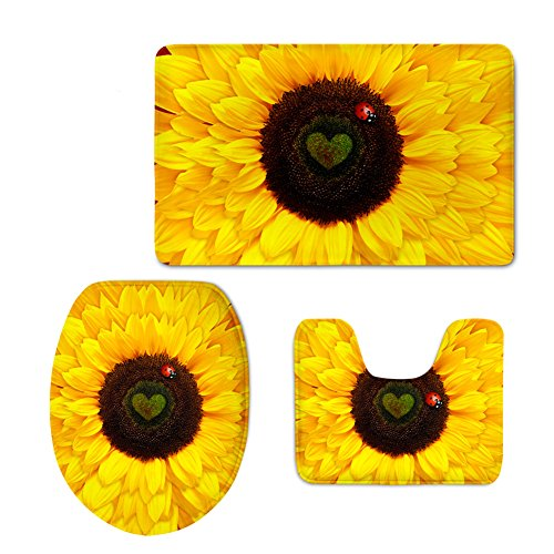 Coloranimal 3 Piece Bathroom Rug Sets Yellow Sunflower Toilet Floor Contour Mat Toilet Lid Tank Top Covers