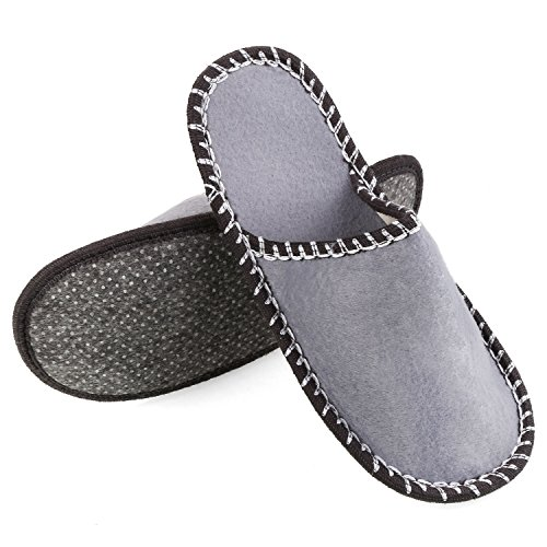 FEMOR Conjunto de 6 Pares de Zapatillas Antideslizantes de Casa y Viaje de Fieltro Color Gris Negro Blanco y Azul para Tama?o Unisex de 36-44 PtVq7