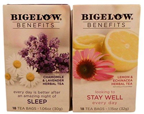 Bigelow Benefits Sleep and Stay Well Herbal Tea Bundle - 2 Boxes of Tea: One each Stay Well and Sleep Tea