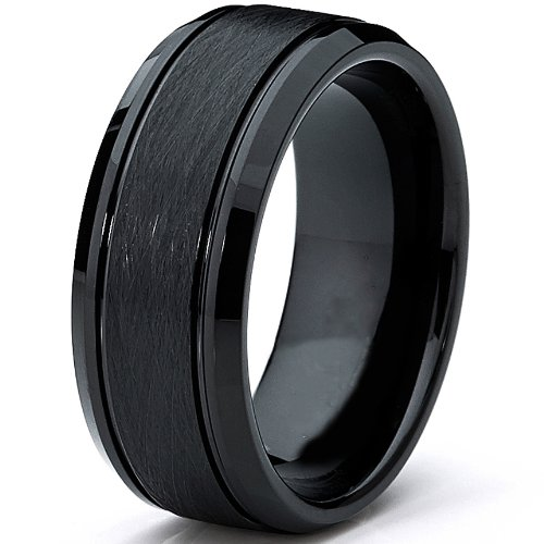 Ultimate-Metals-Co-Tungsten-Carbide-Mens-Black-Brushed-Textured-Center-Ring-Band-8-mm-Comfort-Fit