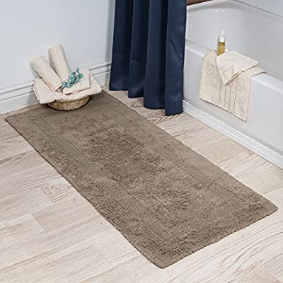 Bedford Home 100% Cotton Reversible Long Bath Rug - Taupe - 24x60 - Reversible Rug Set High Pile Plush and Super Soft Loops Absorbent, 100% Egyptian Cotton - bathroom-linens, bathroom, bath-mats - 515GLp%2Bm5zL. SS400  -