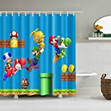 Cdcurtain Kid Cartoon Shower Curtain Waterproof Polyester Fabric Print Boy Bathroom Drape for Dinosaur Super Mario (Blue 70.8'' W x 70.8'' H)