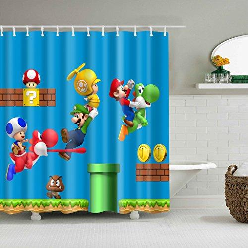 Cdcurtain Kid Cartoon Shower Curtain Waterproof Polyester Fabric Print Boy Bathroom Drape for Dinosaur Super Mario (Blue 70.8'' W x 70.8'' H) by Cdcurtain