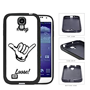 Hang Loose Shaka Hand Symbol White and Black Rubber Silicone TPU Cell Phone Case Samsung Galaxy S4 SIV I9500