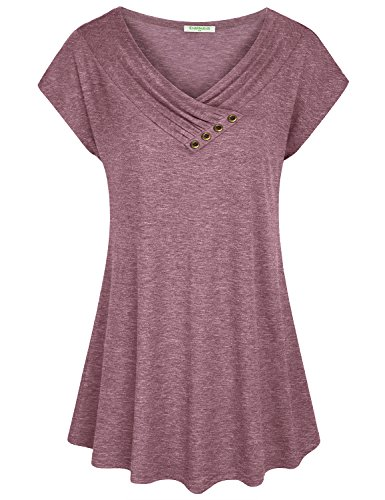 Baikea Short Sleeve Tunic Tops, Misses Size 18 Short Sleeve Cowl V Neck Tops Loose Fitting Comfy Soft Tunic XL with Bronze Button Rose - Sleeve Cowl Neck Cap