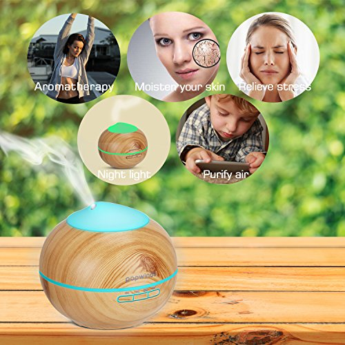 popwinds Aroma Diffuser, Essential Oil Diffuser Ultrasonic Aroma Humidifier Cool Mist Air Purifier with 7 Colors Light, Auto Shut-Off and Adjustable Mist Levels for Bedroom, Office or Spa-Dark Wood by popwinds (Image #3)